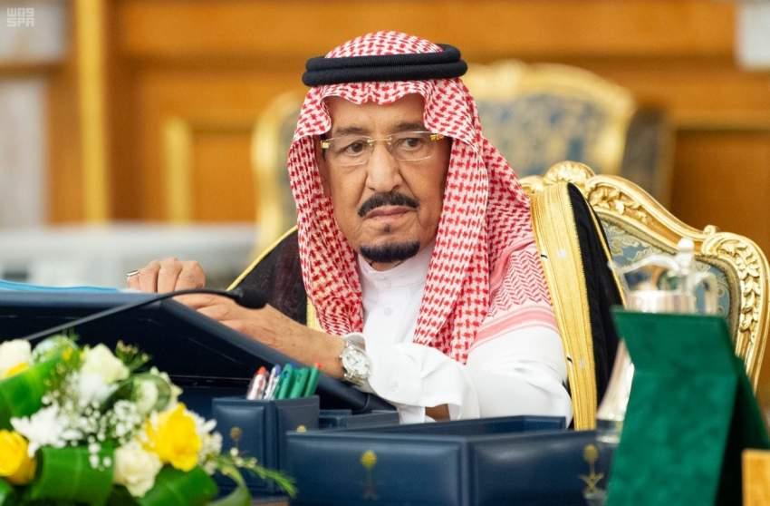 الملك سلمان مترئساً اجتماع مجلس الوزراء السعودي.