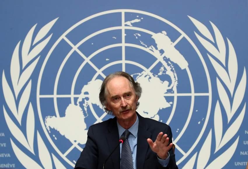المبعوث الدولي إلى سوريا غير بيدرسون في جنيف اليوم. (رويترز)