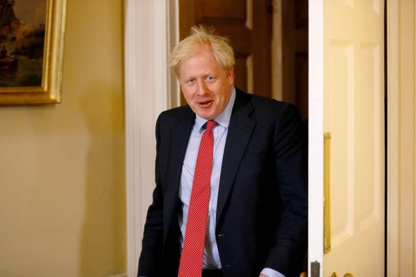 رئيس الوزراء البريطاني بوريس جونسون في لندن. (أ ف ب)