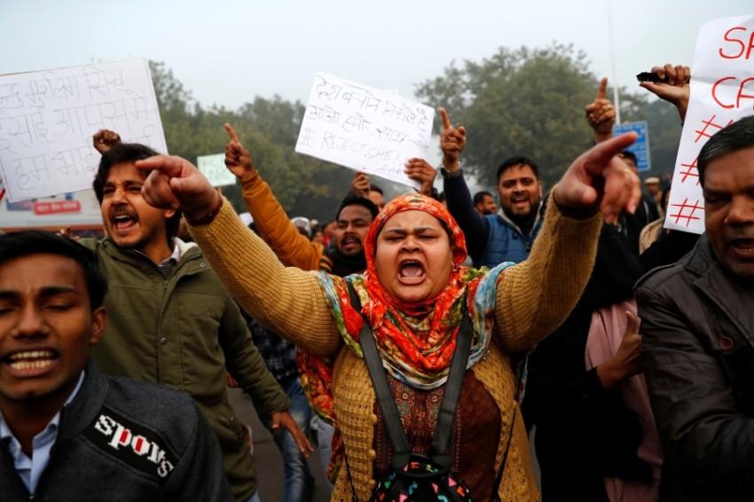 احتجاجات ضد قانون الجنسية في نيودلهي. (رويترز)