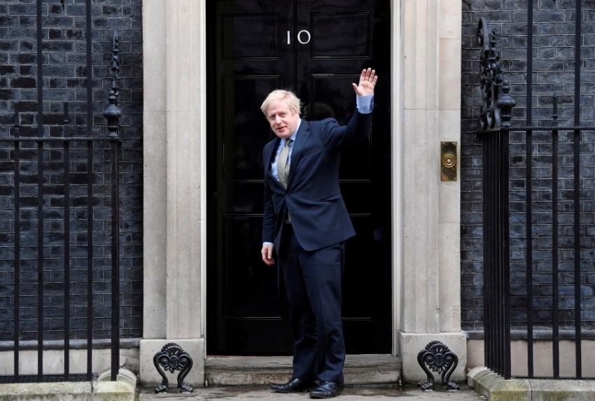 رئيس الوزراء البريطاني بوريس جونسون في لندن. (رويترز)