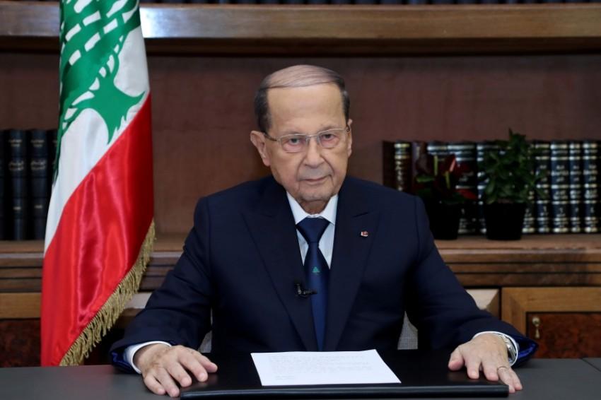 الرئيس اللبناني ميشال عون في قصر بعبدا. (رويترز)