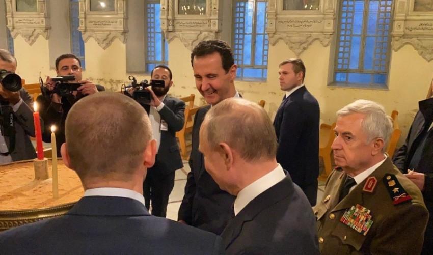 الرئيس بشار الاسد يصطحب بوتين في زيارة للكنيسة المريمية بدمشق (سانا)