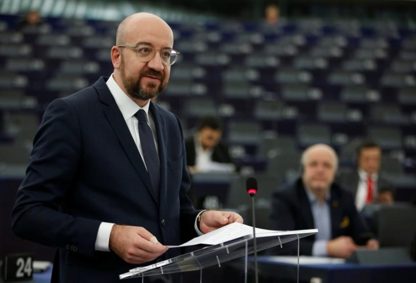 رئيس مجلس الاتحاد الأوروبي شارل ميشيل في ستراتسبورغ. (رويترز)