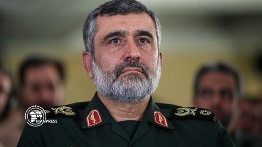 أمير علي حاجي زادة قائد القوة الجو فضائية بالحرس الثوري. (أرشيفية)