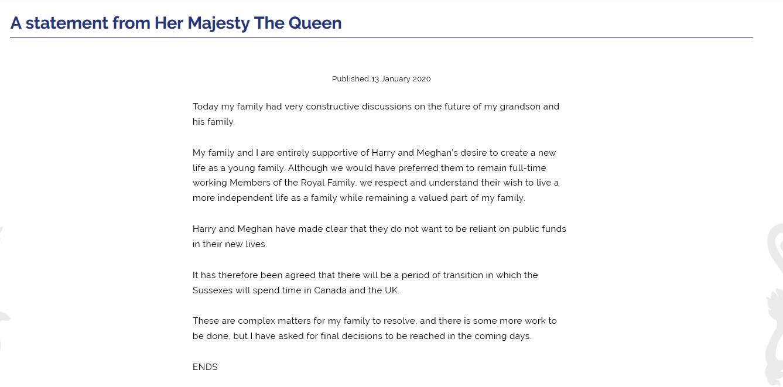 بيان الملكة إليزابيت