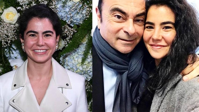 نادين و والدها كارلوس غصن