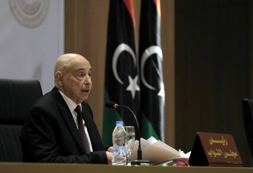 رئيس مجلس النواب الليبي عقيلة صالح في بنغازي. (رويترز)
