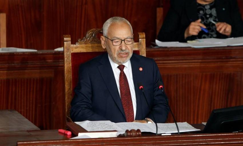 رئيس حركة النهضة راشد الغنوشي خلال جلسة للبرلمان في تونس. (رويترز)