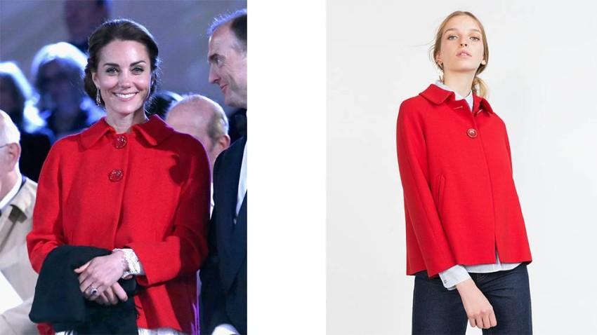 كيت ميدلتون بمعطف أحمر من زارا