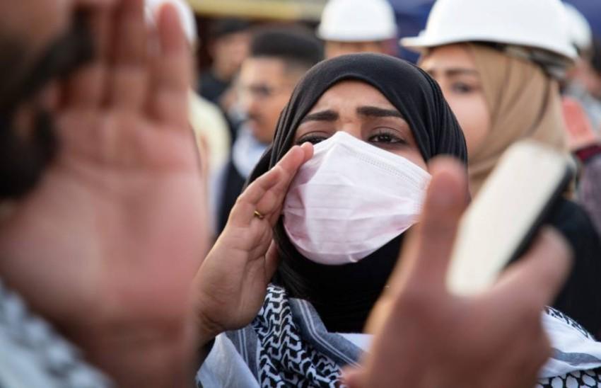 استمرار التظاهرات المناهضة للحكومة في البصرة. (أ ف ب)