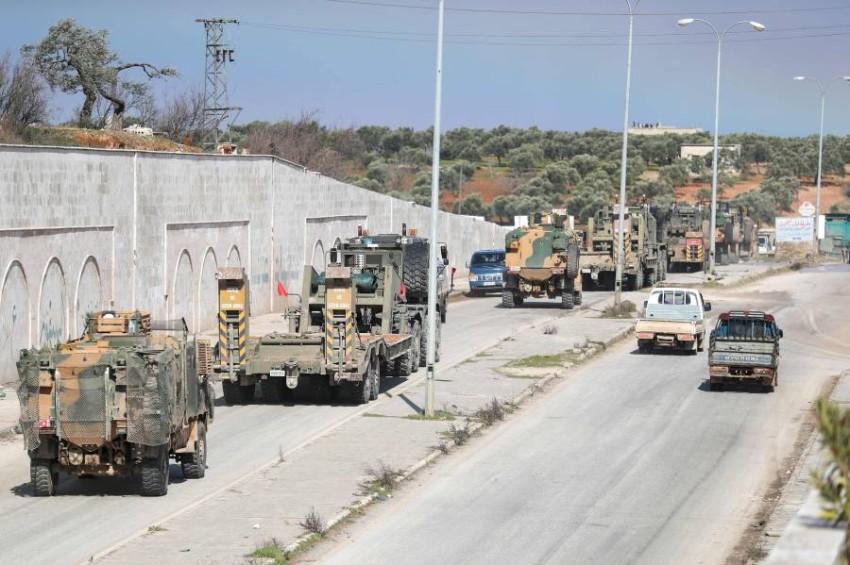 رتل عسكري تركي يصل إلى إدلب شمال سوريا. (أ ف ب)