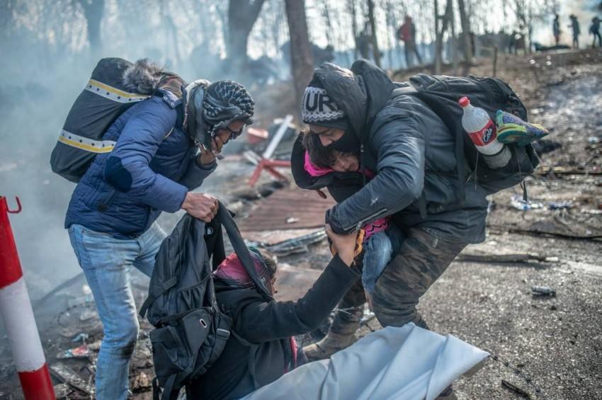 المهاجرين على الحدود اليونانية . أ ف ب