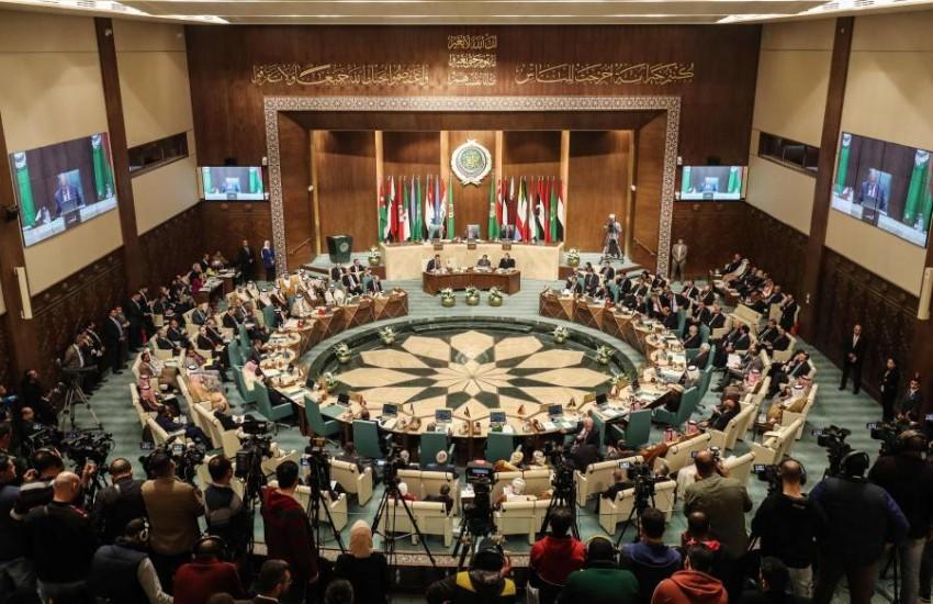الجلسة الافتتاحية للدورة الـ153 لمجلس الجامعة العربية على مستوى وزراء الخارجية في القاهرة. (أ ف ب)