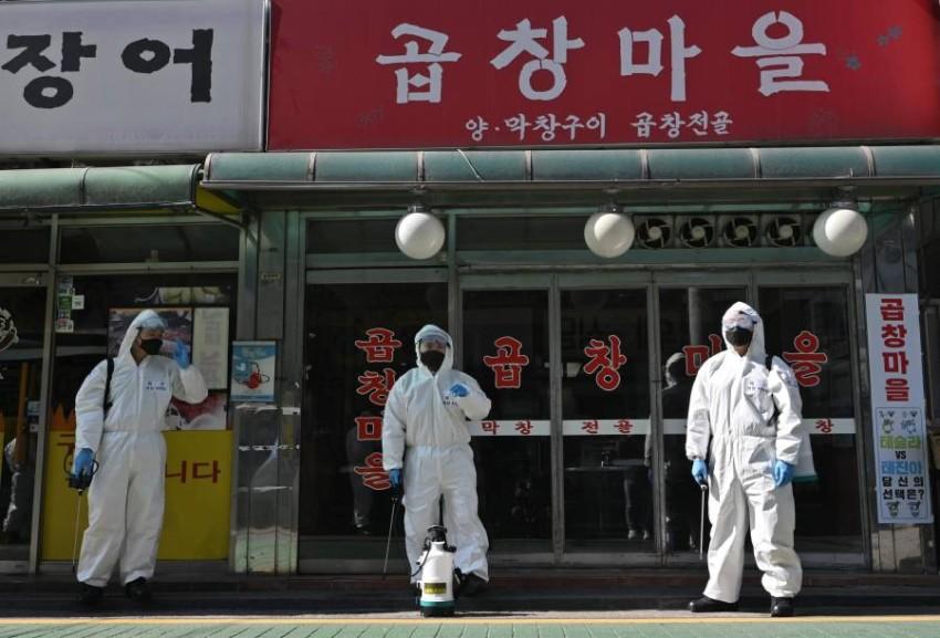 محاولات حثيثة في كوريا الجنوبية لاحتواء كورونا. (أ ف ب)