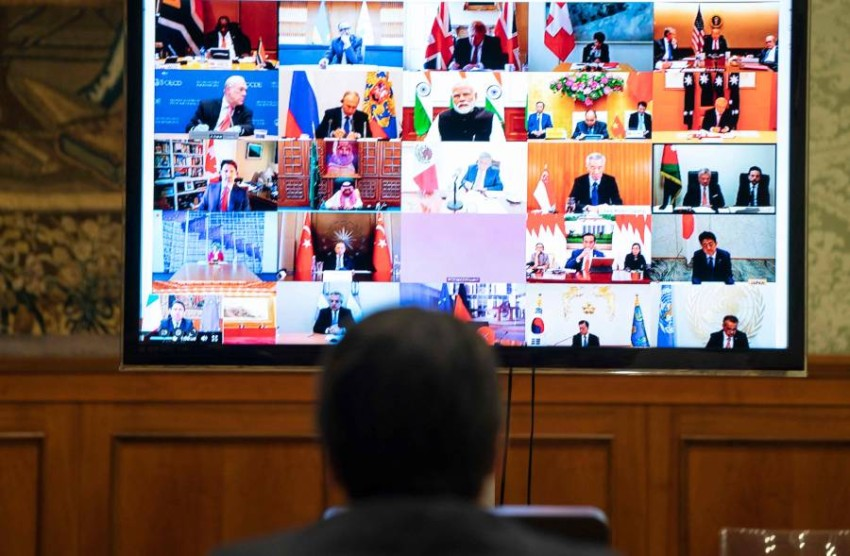 خلال لقاء زعماء مجموعة العشرين الافتراضي. (أ ف ب)