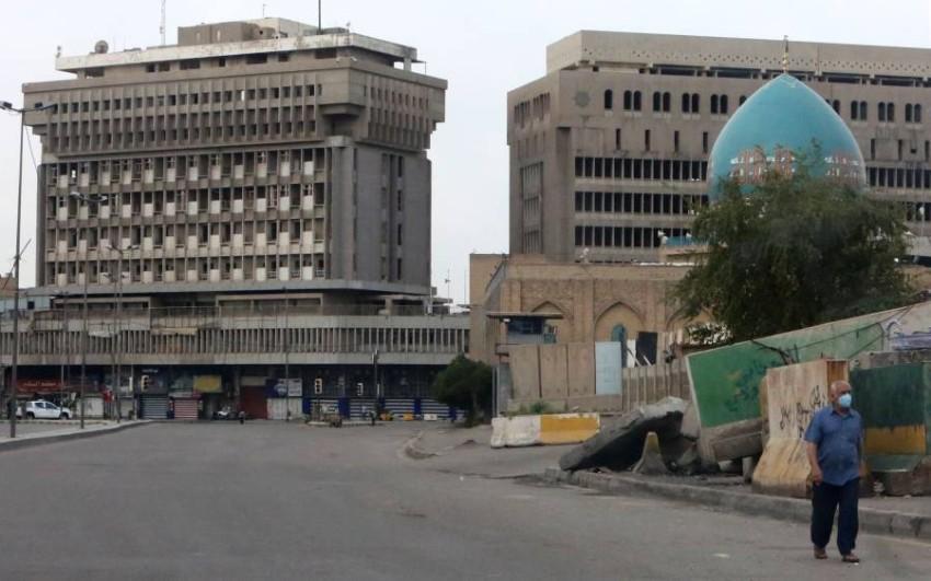 في وسط بغداد.. التزام بقرارات الحظر. (أ ف ب)