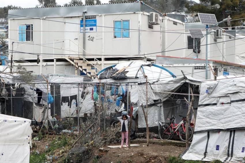معسكر موريا في جزيرة ليبسوس اليونانية يخضع للحجر (رويترز)