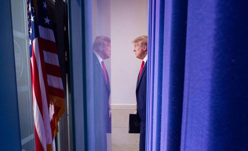 الرئيس الأمريكي دونالد ترامب في البيت الأبيض بواشنطن. (أ ف ب)