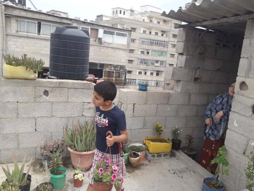 الطفل محمد يقوم بعملية تنسيق للحديقة وتوزيع للورد بمتابعة والدته. (الرؤية)