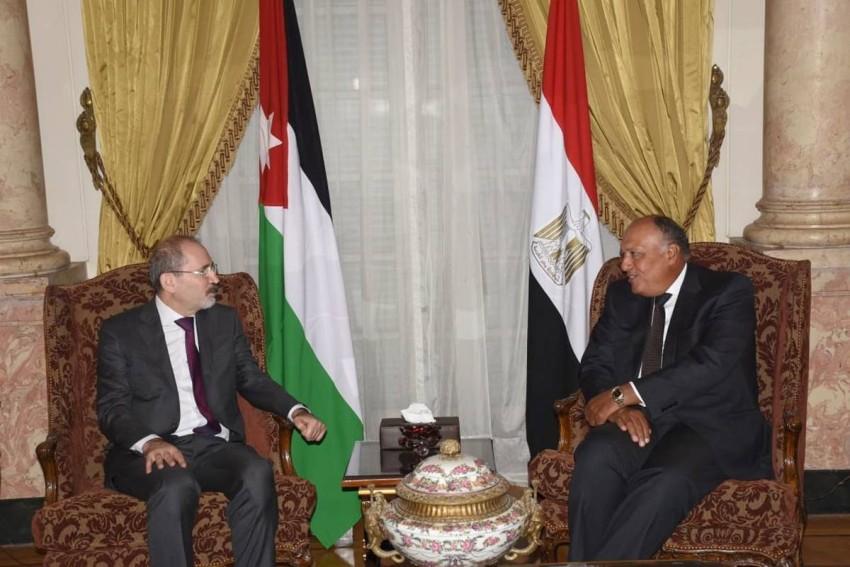 اجتماع سابق لسامح شكري وأيمن الصفدي. (من المصدر)
