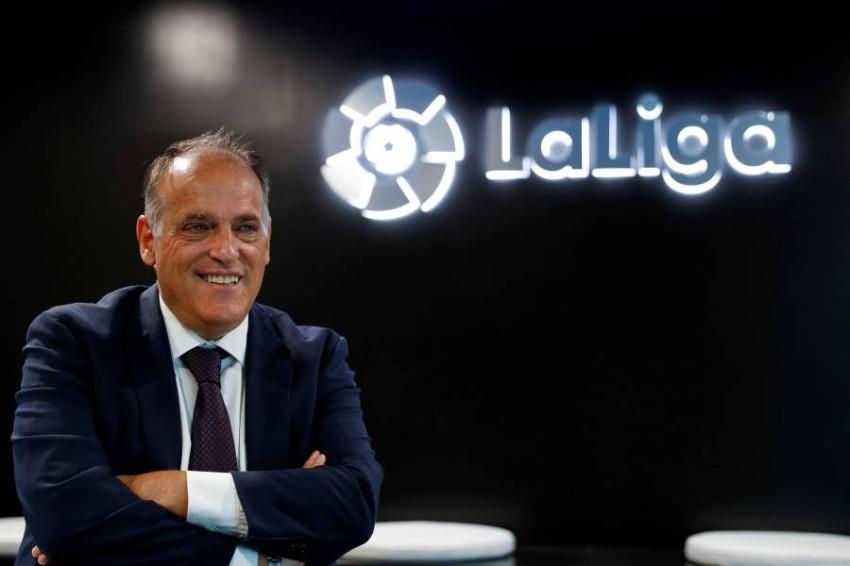 خافيير تيباس رئيس رابطة الدوري الإسباني. (رويترز)