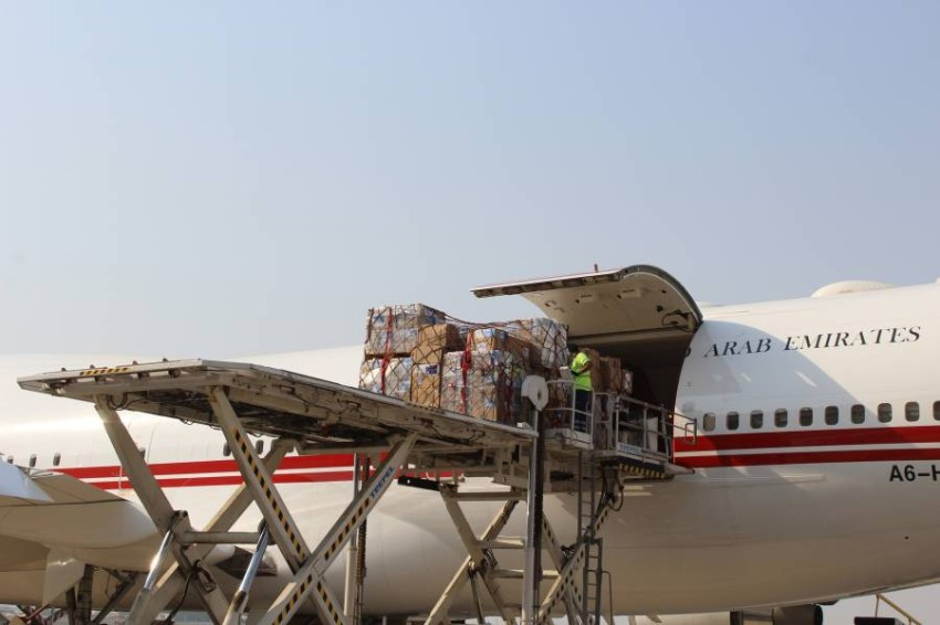 طائرة مساعدات إماراتية قبل إرسالها إلى لبنان. (من المصدر)