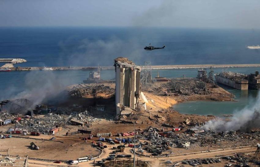 آثار الدمار الذي خلَّفه انفجار بيروت. (أ ف ب)