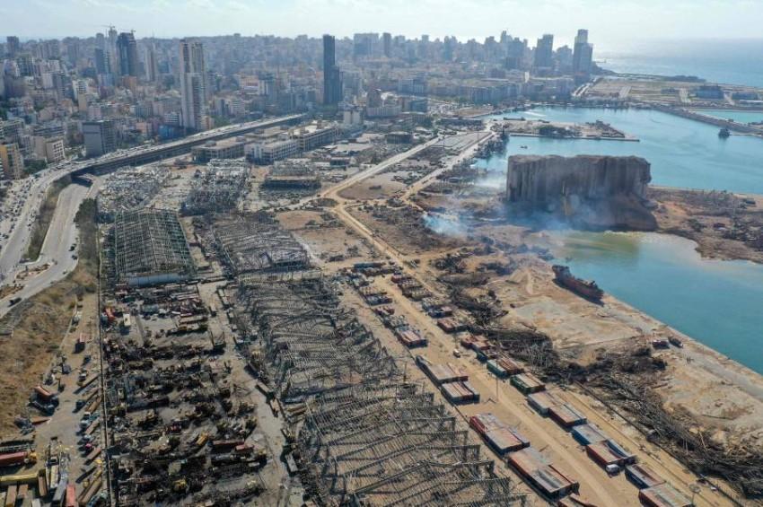 آثار الدمار الذي خلفه انفجار بيروت. (أ ف ب)