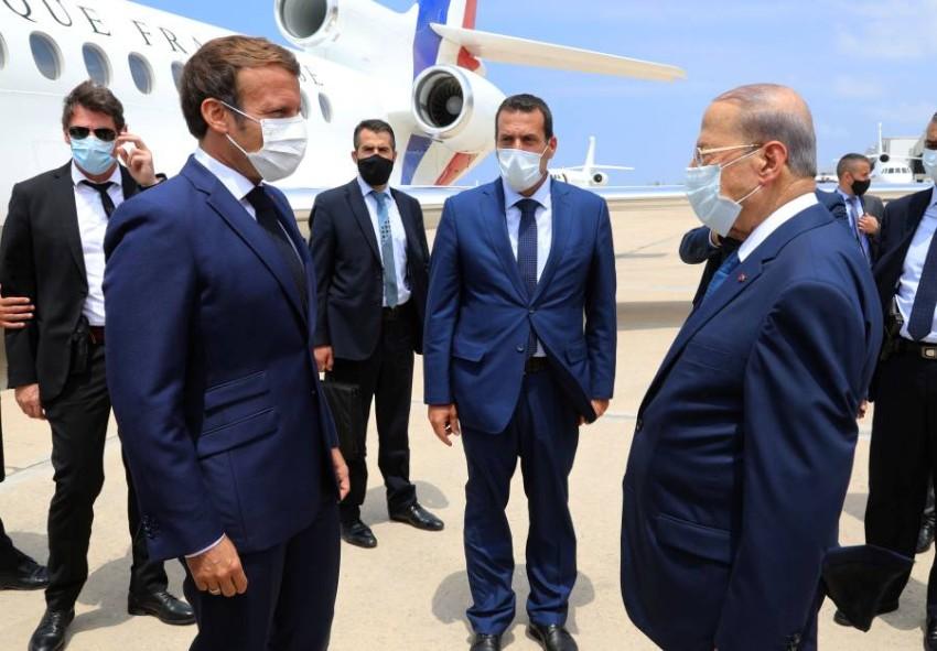 الرئيس الفرنسي إيمانويل ماكرون في بيروت اليوم الخميس. (رويترز)