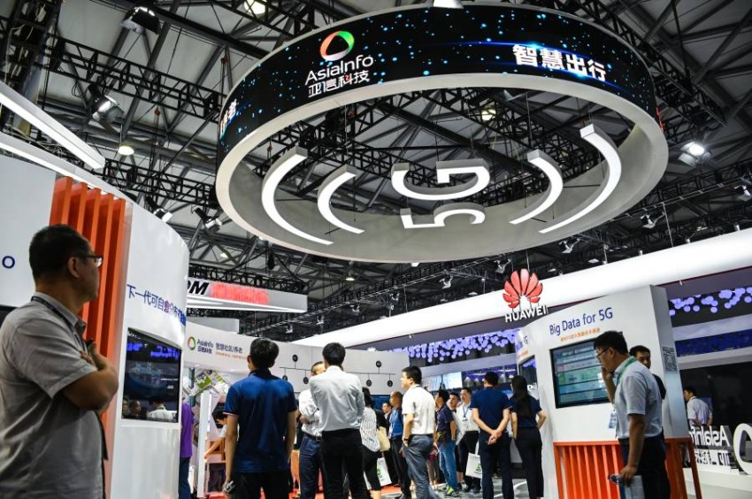 --FILE--A logo of 5G is seen at the stand of Huawei during the 2019 Mobile World Congress (MWC) in Shanghai, China, 27 June 2019. The United States government is in the process of granting approval to some companies to allow them to sell American-made goods to Huawei as long as the sale doesn't pose a threat to national security or the undermine their intellectual property rights.No Use China. No Use France.
