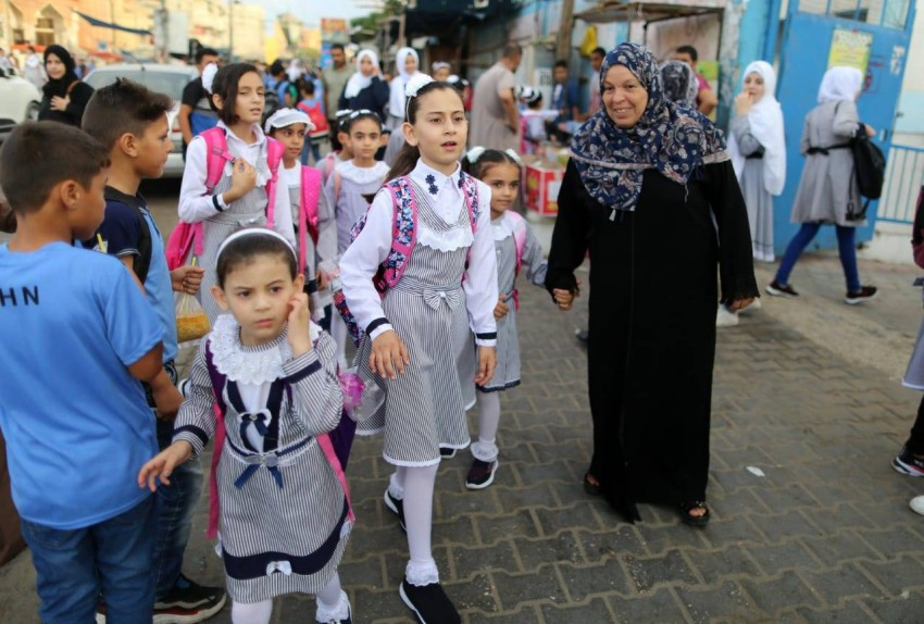 افتتاح العام الدراسي الجديد في قطاع غزة. (الرؤية)