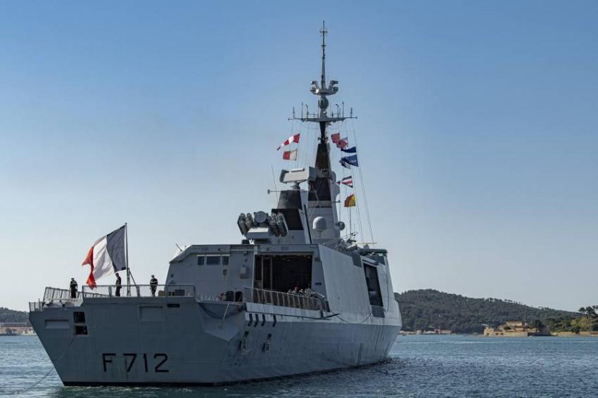 فرقاطة فرنسية في البحر المتوسط. (رويترز)