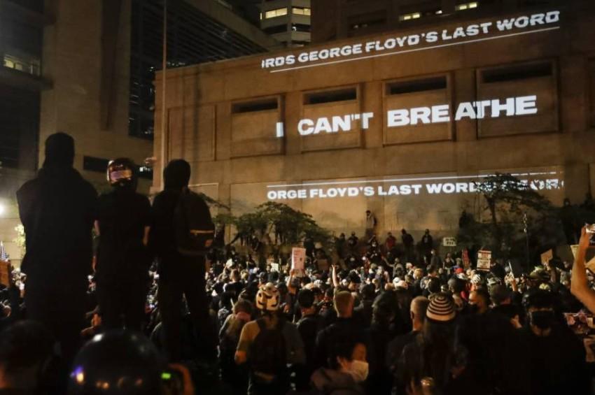 احتجاجات مناهضة لوحشية الشرطة والعنصرية في بورتلاند. (أ ب)
