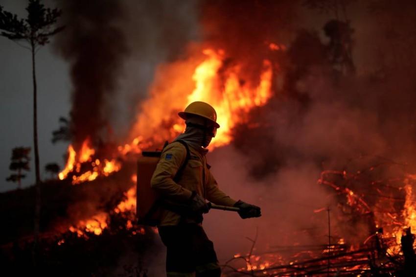 محاولات للسيطرة على حرائق الغابات في الأمازون. (رويترز)