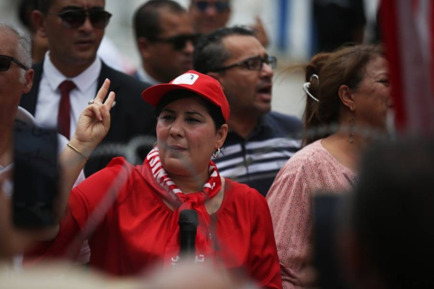 رئيسة الحزب الدستوري الحر عبير موسى. (رويترز)