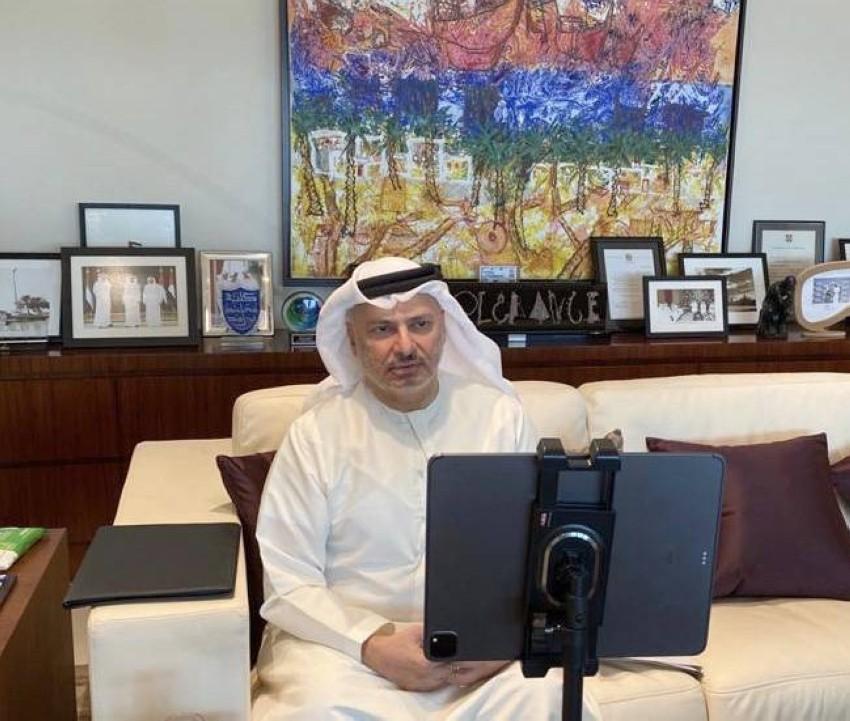 الدكتور أنور قرقاش خلال الاجتماع الثامن لمجموعة أصدقاء السودان. (وام)