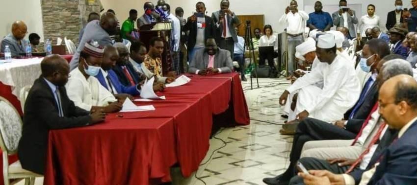جانب من مراسم توقيع اتفاق سلام أوّلي في جوبا. (سونا)