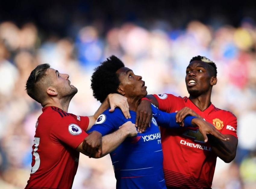 من مباراة سابقة بين مانشستر يونايتد وتشيلسي. (رويترز)