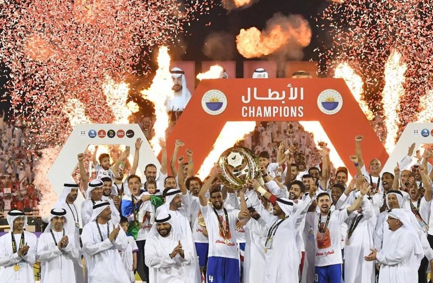 فرحة الملك بتاج دوري الخليج العربي. (من المصدر)