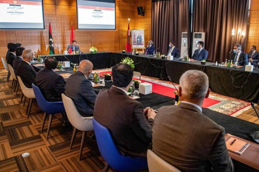 جانب من جلسات الحوار الليبي في المغرب. (أ ف ب)