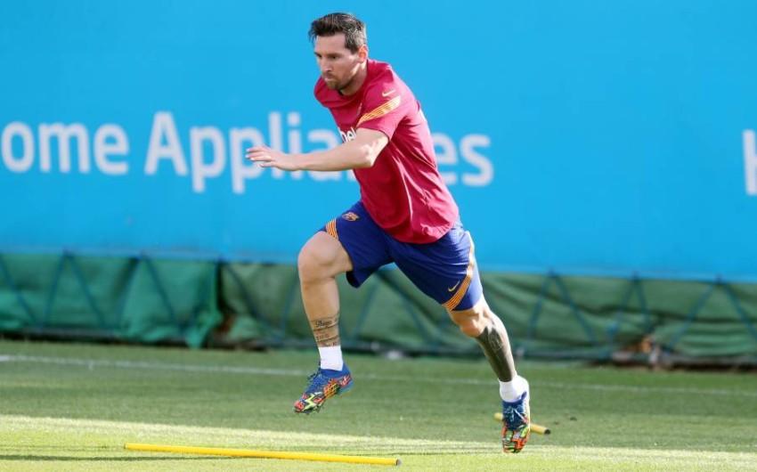 ميسي في تدريبات برشلونة. (رويترز)