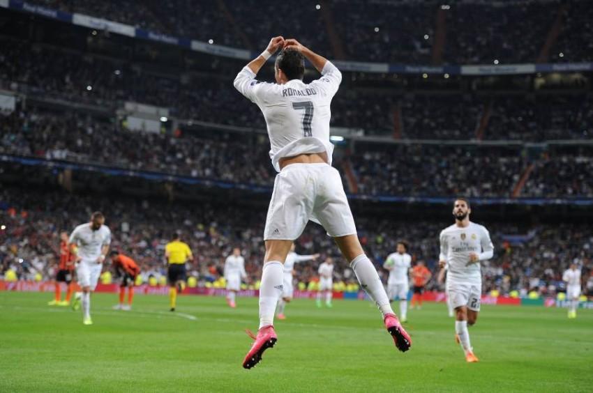 كريستيانو رونالدو بقميص ريال مدريد. (غيتي)