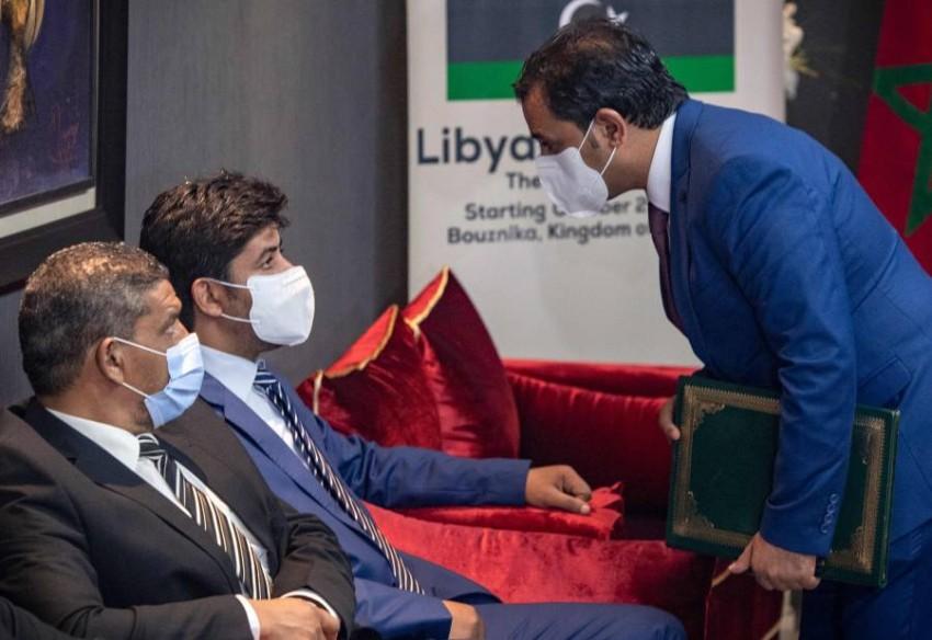 جانب من الوفد الليبي على هامش محادثات سابقة بالمغرب. (أ ف ب)