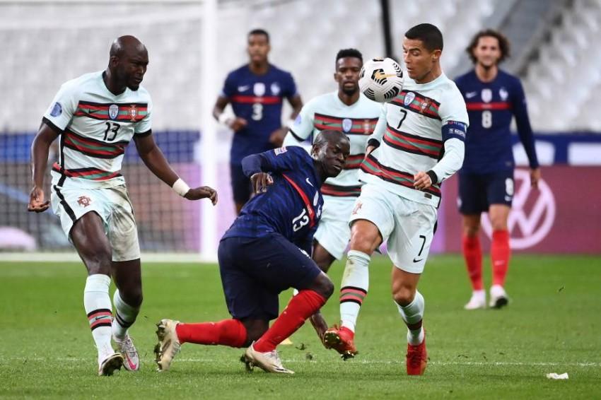 من مباراة البرتغال وفرنسا في دوري الأمم. (أ ف ب)