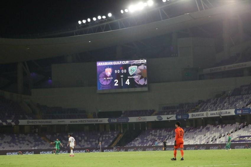 صورة لوحة نتيجة المباراة وضعها نادي خورفكان على صفحته