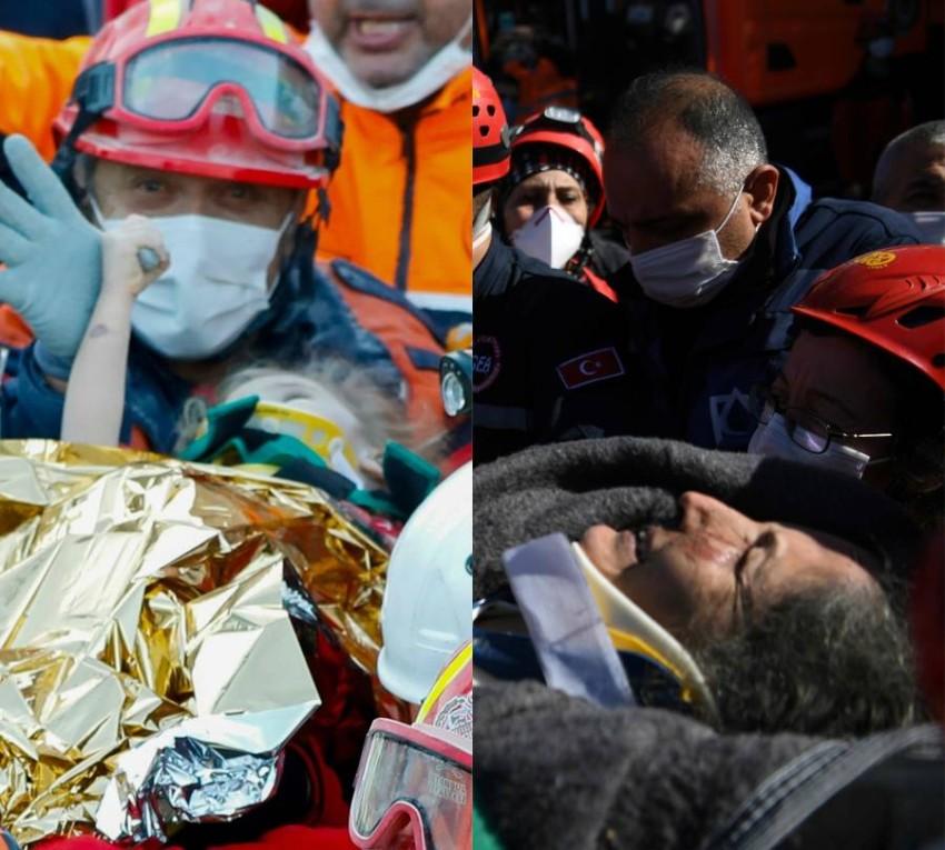 صورة مجمعة لعمليتي إنقاذ الطفلة ووالدتها. (أ ف ب)