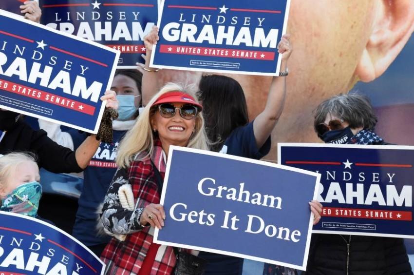 أنصار السيناتور الجمهوري ليندسي غراهام. (أ ب)