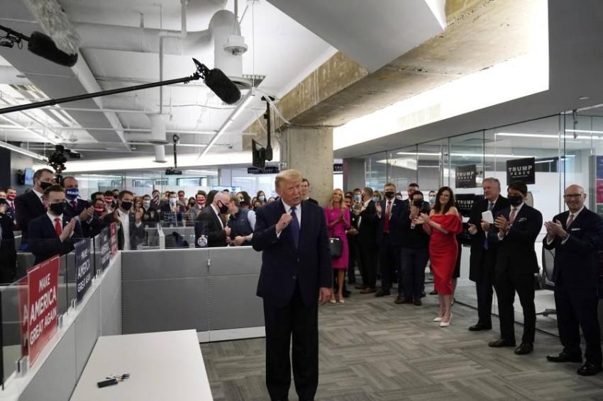 ترامب يتحدث في مقر حملته الانتخابية في أرلينجتون. (أ ب)