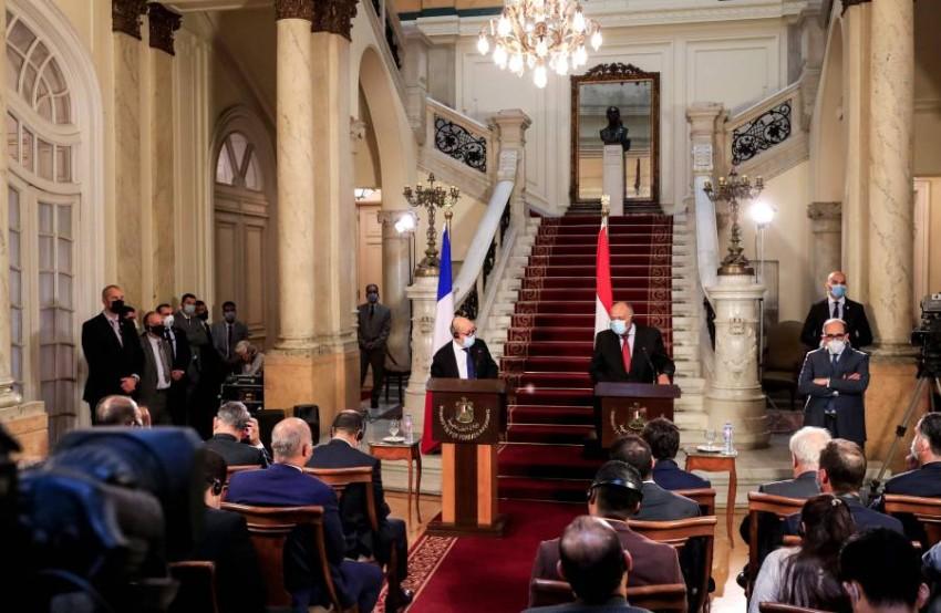 وزيرا الخارجية المصري والفرنسي - أ ب